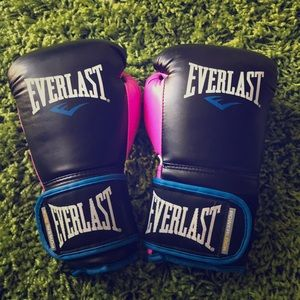 Everlast Powerlock Boxing Gloves Pink Blue Black